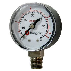Enlarge Kegco Low Pressure Replacement Gauge - Right Hand Thread - BF13R05