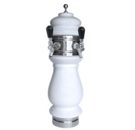 Enlarge Silva Ceramic Double Faucet Draft Beer Tower - White with Chrome Accents