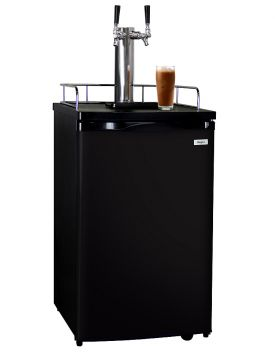 Enlarge Kegco ICK19B-2 Dual Faucet Javarator Cold-Brew Coffee Dispenser with Black Cabinet and Door