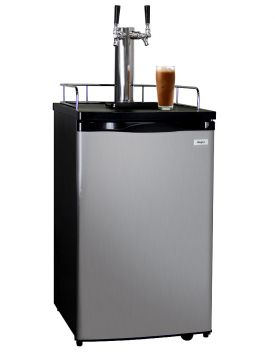 Enlarge Kegco ICK19S-2 Dual Faucet Javarator Cold-Brew Coffee Dispenser with Black Cabinet and Stainless Steel Door