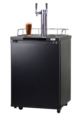 Enlarge Kegco ICK20B-2 Dual Faucet Javarator Cold-Brew Coffee Dispenser with Black Cabinet and Door