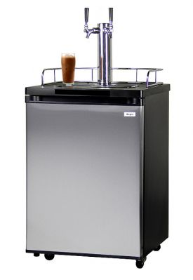 Enlarge Kegco ICK20S-2 Double Faucet Javarator Cold-Brew Coffee Dispenser with Black Cabinet and Stainless Steel Door