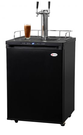 Enlarge Kegco ICK30B-2 Double Faucet Digital Javarator Cold-Brew Coffee Dispenser - Black Cabinet with Matte Black Door