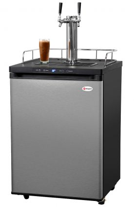 Enlarge Kegco ICK30S-2 Two Faucet Digital Javarator Cold-Brew Coffee Dispenser - Black Cabinet with Stainless Steel Door