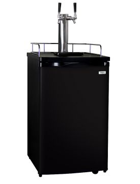 Enlarge Kegco K199B-2 Dual Faucet Kegerator with Black Cabinet and Door