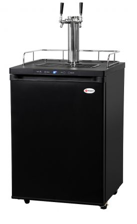 Enlarge Kegco KOM30B-2 Double Faucet Digital Kombucharator - Black Cabinet with Matte Black Door