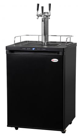 Enlarge Kegco K309B-3 Three Faucet Digital Kegerator - Black Matte Cabinet and Door