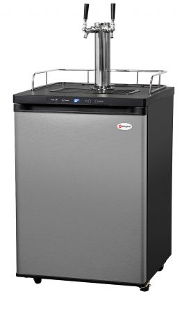 Enlarge Kegco KOM30S-2 Two Faucet Digital Kombucha Keg Cooler - Black Cabinet with Stainless Steel Door