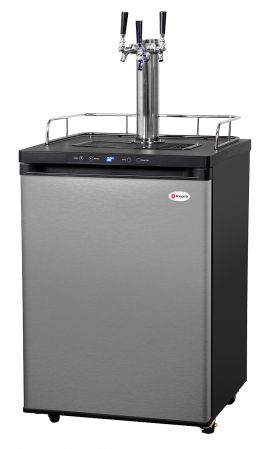Enlarge Kegco KOM30S-3 Three Faucet Digital Kombucha Dispense System - Black Matte Cabinet and Stainless Steel Door