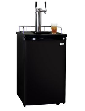 Enlarge Kegco KOM19B-2 Dual Faucet Kombucha Dispense System with Black Cabinet and Door