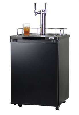 Enlarge Kegco KOM20B-2 Dual Faucet Kombucha Keg Cooler with Black Cabinet and Door