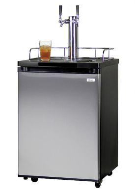 Enlarge Kegco KOM20S-2 Double Faucet Kombucha Cooler Dispenser with Black Cabinet and Stainless Steel Door