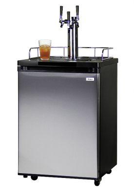 Enlarge Kegco KOM20S-3 Triple Faucet Kombucharator with Black Cabinet and Stainless Steel Door
