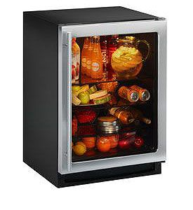 Enlarge U-Line 2175RCGS-00 2000 Series 5.4 Cu. Ft. Refrigerator - Black Cabinet with Stainless Steel Glass Door