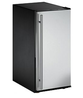 Enlarge U-Line ADA15IMS-01 Crescent Ice Maker Model - Black Cabinet with Stainless Steel Door - Left Hinge