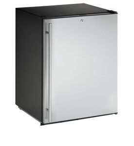 Enlarge U-Line ADA24RS-13 5.3 cf ADA Undercounter Refrigerator w/ Lock  - Black Cabinet with Stainless Steel Door - Right Hinge