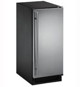 Enlarge U-Line CLR2160S-40 2000 Series Black Cabinet with Stainless Steel Door Clear Ice Maker w/ Drain Pump - Right Hinge