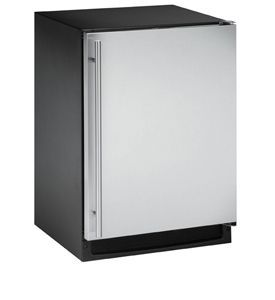 Enlarge U-Line CLRCO2175S-00 2000 Series Clear Ice Maker / Refrigerator - Black Cabinet with Stainless Steel Door - Right Hand Hinge - No Drain Pump