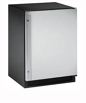 Enlarge U-Line CO2175FS-01 2000 Series Combo Refrigerator & Ice Maker - Black Cabinet with Stainless Steel Door - Left Hinge
