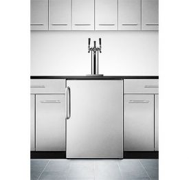 Enlarge Summit SBC490BISSTBTRIPLE Triple Faucet Built-in Kegerator - Jet Black Cabinet with a Stainless Steel Door and Handle