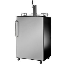 Enlarge Summit SBC490SSTB Full-Size Kegerator - Elegant Black Cabinet with Gorgeous Stainless Steel Door and Curved Stainless Steel Towel Bar Handle
