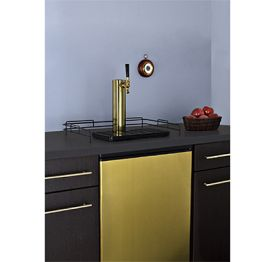 Enlarge Summit SBC490BIBRS Built-In Kegerator  6.4 Cu. Ft. Single Faucet Full-Sized - Brass Finished Door
