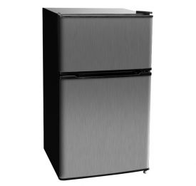 Enlarge Kegco MDC315-2BS - 3.1 CF Two Door Counterhigh Dorm Refrigerators - Black Cabinet with Stainless Steel Door