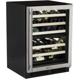 Enlarge Marvel  ML24WDG2RS Dual Zone Wine Cellar - Black Cabinet with Stainless Steel Wide Trim Glass Door