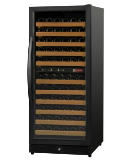 Enlarge Allavino MWR-1212-BL-C 111 Bottle Dual-Zone Wine Cellar Refrigerator - Black Cabinet and Door - Left Hinge