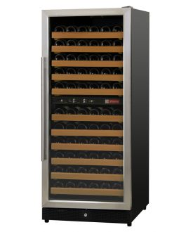 Enlarge Allavino MWR-1212-SSL 111 Bottle Dual-Zone Wine Cellar Refrigerator - Black Cabinet with Stainless Door - Left Hinge