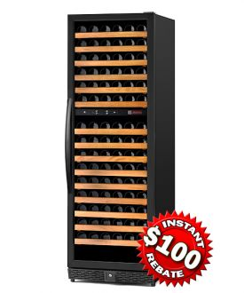 Enlarge Allavino MWR-1682-BR-C 170 Bottle Dual-Zone Wine Cellar Refrigerator - Black Cabinet with Black Door - Right Hinge