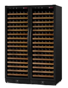 Enlarge Allavino MWR-2X1681-BB 340 Bottle Dual Zone Wine Cellar -  Side By Side - Black Cabinet with Black Doors