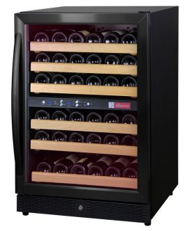 Enlarge Allavino MWR-542-BR-C 51 Bottle Dual Zone Wine Cellar Refrigerator - Black Cabinet with Black Door