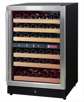 Enlarge Allavino MWR-542-SSL 51 Bottle Dual Zone Wine Cellar Refrigerator - Black Cabinet with Stainless Door - Left Hinge