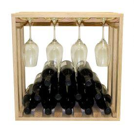 Enlarge Allavino Pronto Series PRL3012S Wine Rack - 12 Bottle Pine Lattice Stackable Stemware Cube
