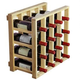 Enlarge Allavino Pronto Series PRL2116C Redwood Wine Rack - 4 Column 16 Bottle Lattice Stackable Cube