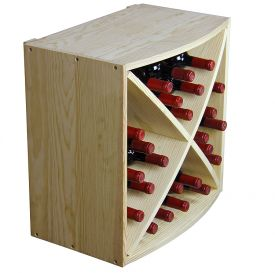 Enlarge Allavino Pronto Series PRS3024R Deluxe Wine Rack - 24 Bottle Pine Diamond Bin Radius Front