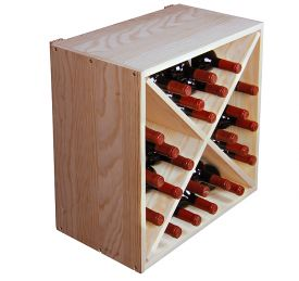 Enlarge Allavino Pronto Series PRS3024X Deluxe Wine Rack - 24 Bottle Pine Solid Diamond Bin Wine Storage Stackable Cube
