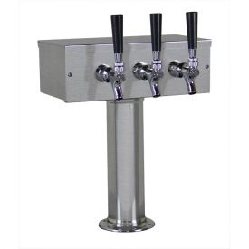 Enlarge Kegco TTOW-3F-BRUSH-SS Brushed Stainless Steel T-Style 3 Faucet Beer Tower - 3