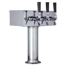 Enlarge Kegco TTOW-3F-SS Polished Stainless Steel T-Style 3 Faucet Tower - 3