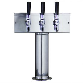 Enlarge D7743PSS Stainless Steel T-Style 3 Faucet Draft Beer Tower - 3 Inch Column