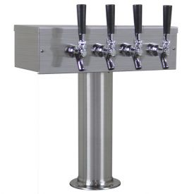 Enlarge Kegco TTOW-4F-BRUSH-SS Brushed Stainless Steel T-Style 4 Faucet Beer Tower - 3