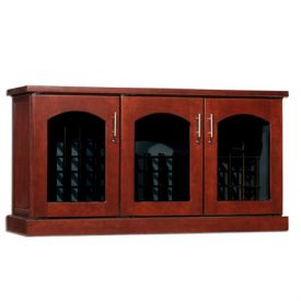 Enlarge Le Cache Contemporary Credenza - 115 -Bottle Wine Cellar - Classic Cherry Finish