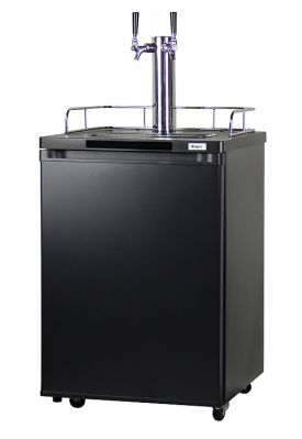 Enlarge Kegco K209B-2 Dual Faucet Kegerator - Black Cabinet with Matte Black Door