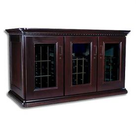 Enlarge Le Cache European Country Euro Credenza 180-Bottle Wine Cellar - Chocolate Cherry Finish