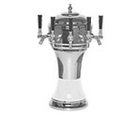 Enlarge CT901-5CH Zeus Ceramic 5-Faucet Draft Beer Tower - White w/ Chrome Finish