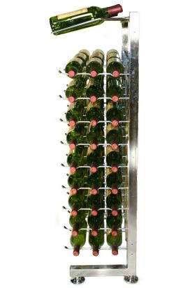Enlarge VintageView IDR3-H-P 90 Bottle Half Island Display Rack - Platinum Series Finish