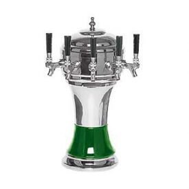 Enlarge Zeus CT900-5CH Ceramic 5-Faucet Draft Beer Tower - Green w/ Chrome Finish