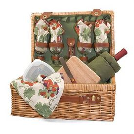 Enlarge Picnic Time Sonoma Wine & Cheese Suitcase Set for Four