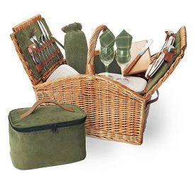 Enlarge Somerset English Style Double Lid Picnic Basket for 2